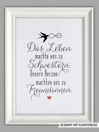 Schwesterherz Kunstdruck Geschenk Von Smart Art Kunstdrucke Auf