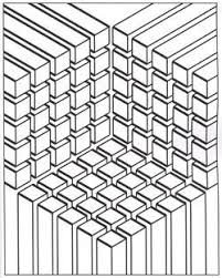 Free Coloring Page Coloring Illusion Optic Cubes The Meeting Of