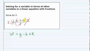 aleks solving for a variable in terms of other variables in a linear equation with fractions