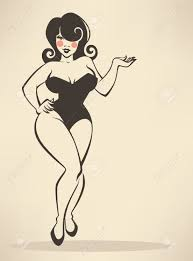 Plus Size Pinup Girl On Beige