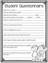 Printable Surveys Adorable Student Questionnaire Back To School Printables For Grades 48 And Up