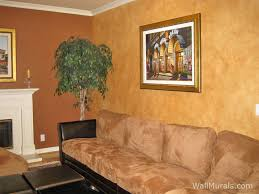 Faux Painted Leather Walls in Living Room