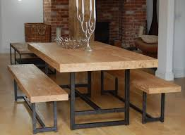 Iron Wood Dining Table Modern Bench Style Dining Table Set Ideas Homesfeed