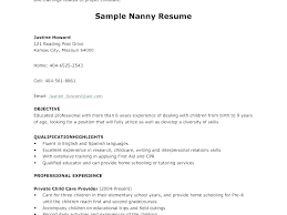 Example Nanny Resume Nanny Resume For Infants Description Example Fascinating Infant Nanny Resume