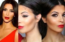 kim kardashian makeup tutorial red lips winged liner