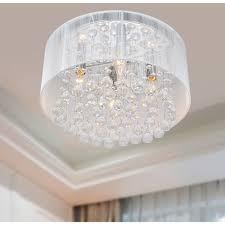 the lighting flushmount 4 light chrome and white crystal chandelier com