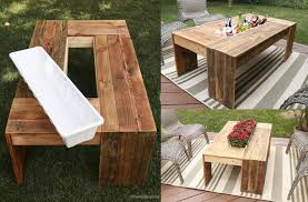 pallet table with drink cooler