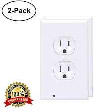 Led Cover Plate Night Light Guidelight Pure White Led Night Light Wall Outlet Cover Plate For Duplex Electrical Outlets 2 Pack