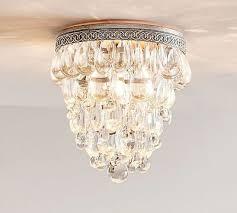 3 of 6 pottery barn clarissa flushmount chandelier light 9 d glass crystal drop nib