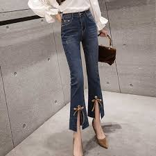 Womens Jeans 2019 Spring Summer High Waist Jeans Womens Boot Cut Pants Denim Trousers Slim Elasticity Jean Ankle Length Pant