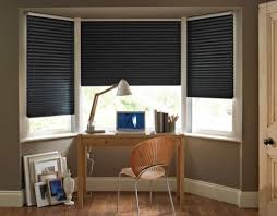 bay window desk home office modern. Home Office Bay Windows Decorated With Black Modern Blinds : Fantastic And Good Window Desk R