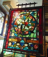 stained glass fire screen antique