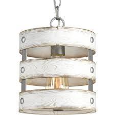 progress lighting gulliver 1 light galvanized drum pendant with weathered white wood accents