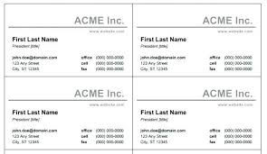 Size Of A Standard Business Card Template Microsoft Word Large