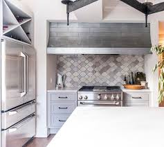 cooking nook with gray moroccan tile backsplash