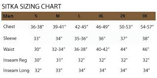 Sitka Size Chart Camofire Discount Hunting Gear Camo And Clothing