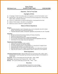 Cv Cook Cook Resume Example Cook Resume Chef Template Free