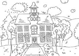 Small Picture School House Colouring Page
