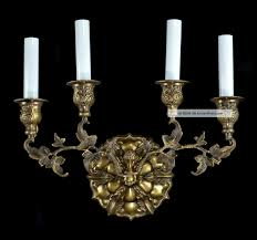pair brass french wall sconces lights gold vintage antique style red candle