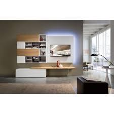 tv kast. tv-kast met hangend element en houten draagplank led-verlichting tv kast