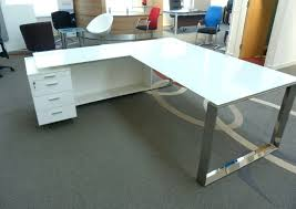 Realspace Mezza L Shaped Glass Computer Desk CherryChrome By Glass Desk Office