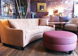 small space sectional sofa. Small Curved Velvet Sectional Sofa And Round Ottoman For Space, Sophisticated Space
