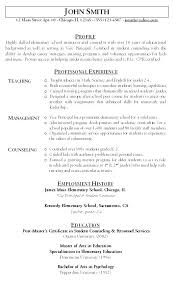 Resume For Teaching Position New Sample Teaching Resumes And Sample Resumes For Teaching Positions