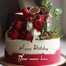 designer flower birthday cakes with name