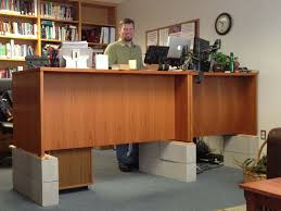 diy standing desk cinder block