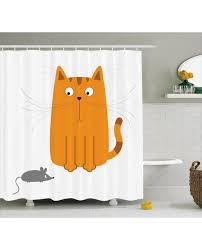 cartoon shower curtain kitty fun humor kids print for bathroomwaterproof and fabric for kids