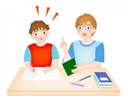 家庭教師と一緒に勉強しているイラスト | イラスト無料・かわいいテンプレート