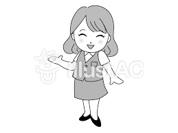 笑顔で案内する女性モノクロイラスト No 150026無料イラスト