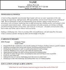 Resume For Team Leader In Bpo Team Leader Cv Sample Sinma Carpentersdaughter Co