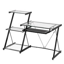 z line designs nero modern metal and glass desk and bookcase zl2021dbu black metal computer desk