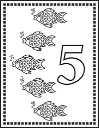 Small Picture Number 5 Or Five Fishes coloring page Free Printable Coloring Pages