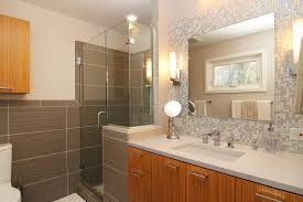 Mosaic Glass Tile Back Splash- Vanity contemporary-bathroom