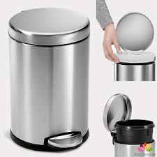 Image Is Loading STAINLESS STEEL TRASH CAN SMALL Office Bathroom Waste