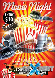 Free Movie Night Flyer Templates Free Movie Night V1 Flyer Psd Template Facebook Cover Download