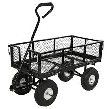 sunnydaze utility steel garden cart outdoor lawn wagon with removable sides heavy duty 400 pound capacity yellow com