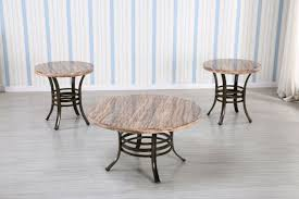 3 pc round faux marble top coffee table