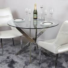 Round glass dining table Large Aubry Glass Round Dining Table Lux Lounge Efr 80cm Round Glass Dining Table Wayfaircouk