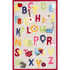 nuloom animal alphabet beige 5 ft x 7 ft area rug