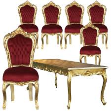 beautiful set of 6 baroque style dining room chairs red velvet gold table 001