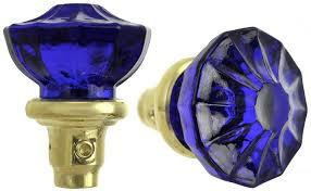 description measurements l 119kb polished unlacquered brass pair of cobalt blue pressed glass doorknobs l dk119kb antique brass