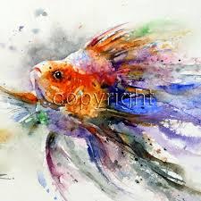 goldfish watercolor print fish art by dean crouser