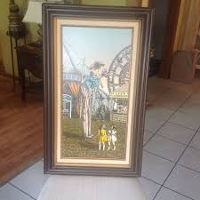 h hargrove framed signed oil painting circus clown on stilts