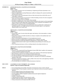 Mechanical Maintenance Resume Sample Mechanical Maintenance Engineer Resume Samples Velvet Jobs 2