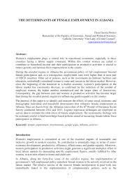 Pdf The Determinants Of Female Employment In Albania