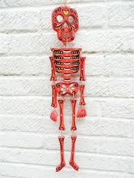 day of the dead sugar skull skeleton hanging plaque wall art skeleton red