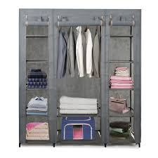 karmas portable closet organizer cloth storage wardrobe closets with removable non woven fabric cover and hanging rod space saving organizer cabinet
